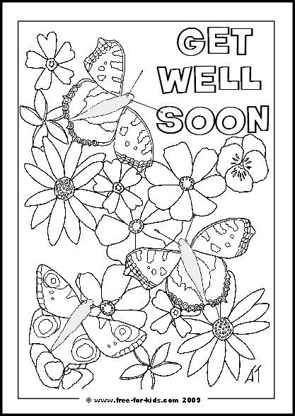 Printable 'Get Well Soon' Colouring Pages