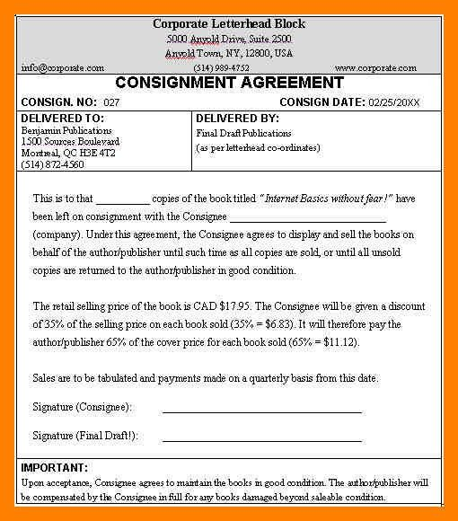 8+ consignment form | article examples