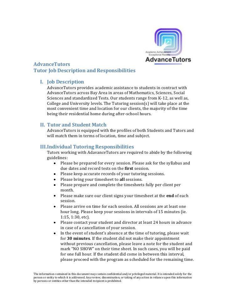 AdvanceTutors-Tutor Job Description