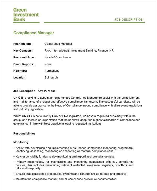 Hr Manager Job Description - 6+ Free Sample, Example, Format ...