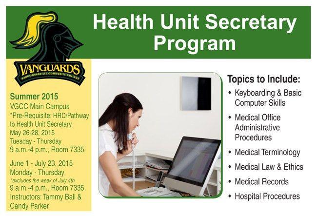 VGCC offers Health Unit Secretary job training course | Vance ...