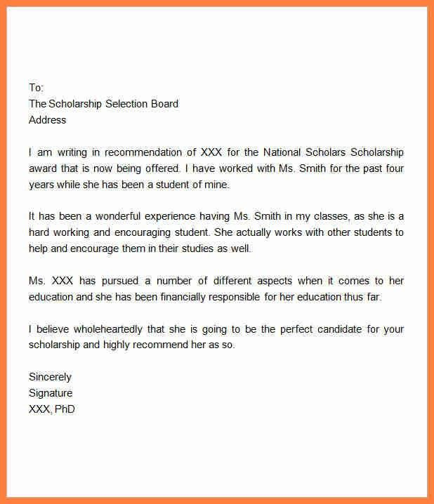 6+ recommendation letter for scholarship application | Life ...