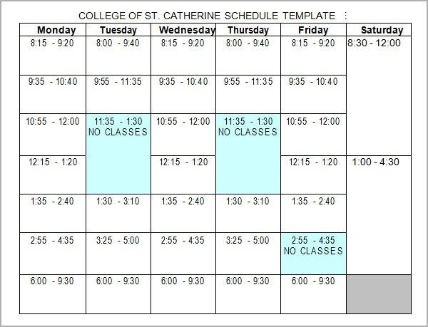 Class Schedule Template. Daycare Weekly Schedule Template - 5 Day ...