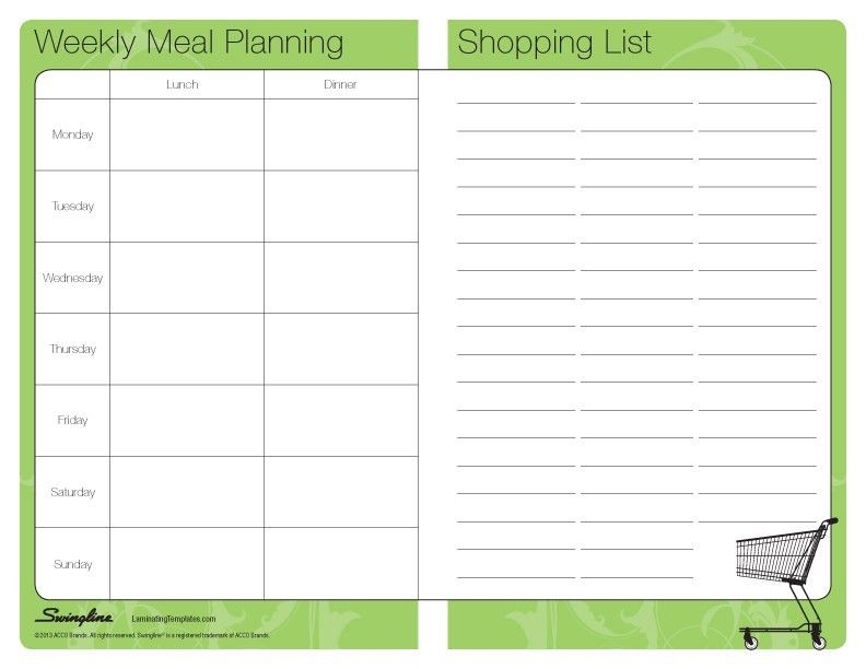 Meal Plan/Shop List - Laminating Templates
