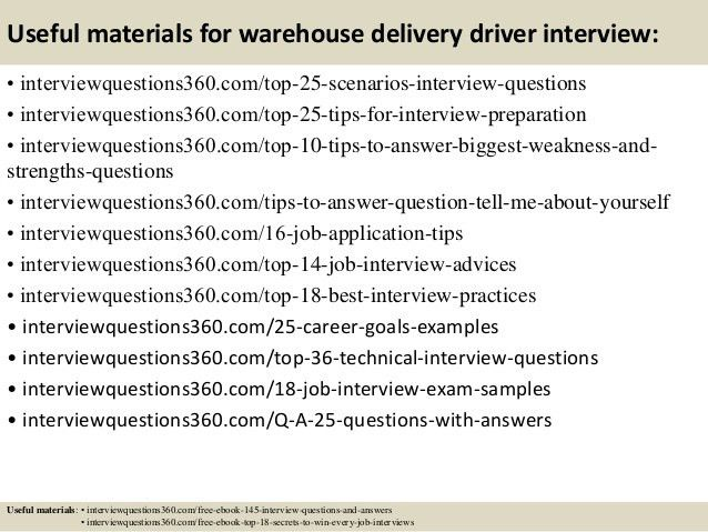 Top 10 warehouse delivery driver interview questions and answers