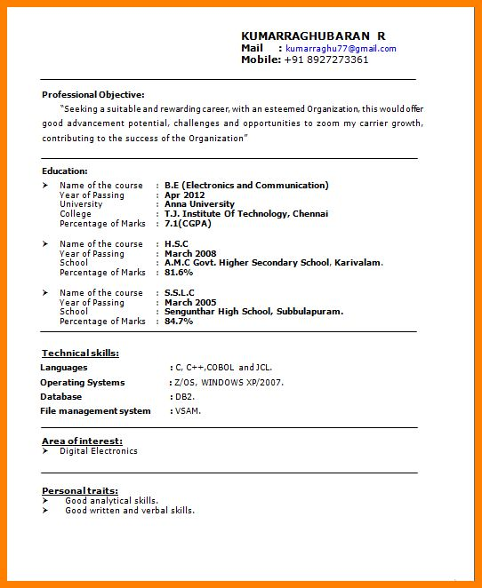 5+ freshers resume format in word | resume language