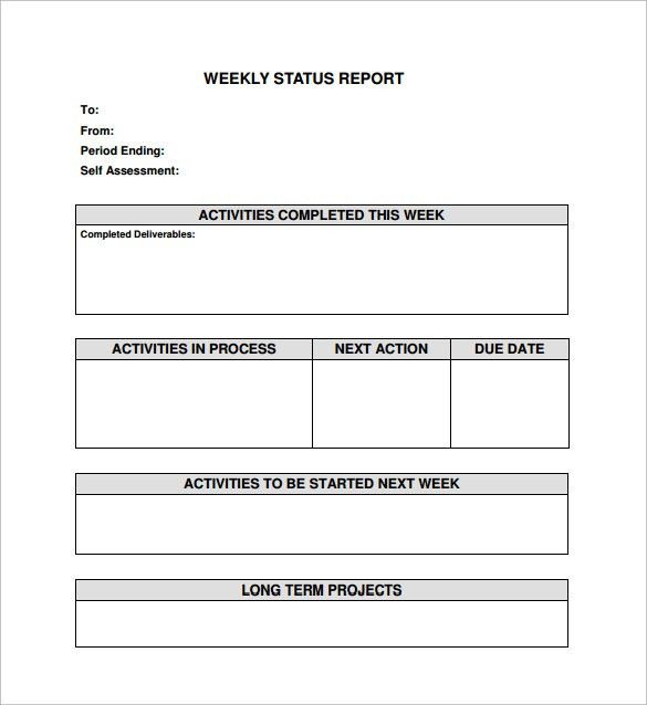 Weekly Status Report Template - 9+ Download Free Documents in Word ...