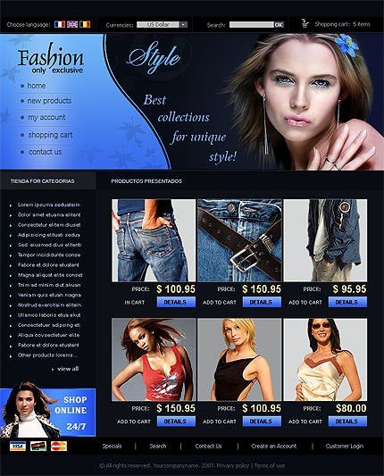 Zen Cart Template Fashion Clothes Online #779, Zen Cart v.1.3.8 ...