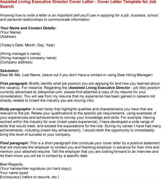 Senior Living Executive Director Cover Letter Sample Intended For ...