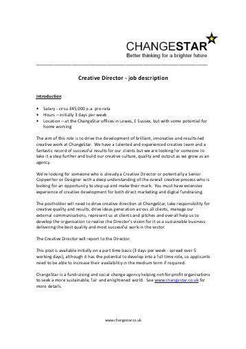 It Director Job Description. Fashion Creative Director Perfomance ...