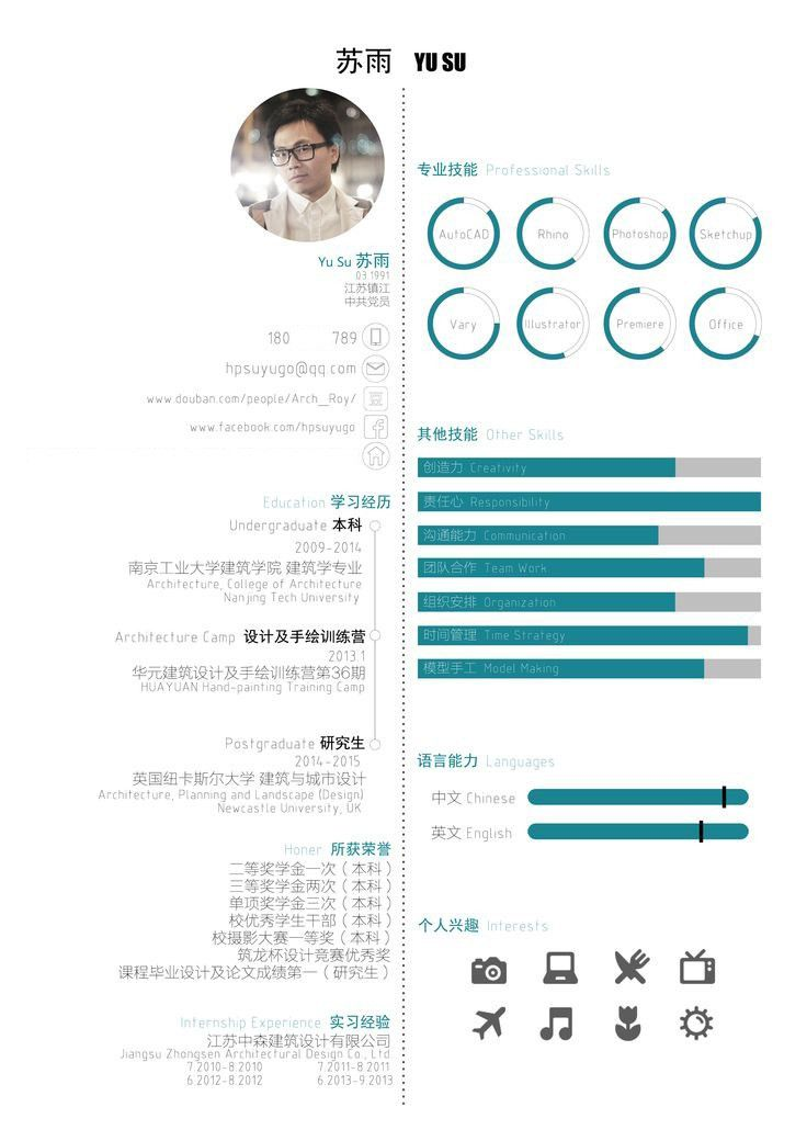 Architect Curriculum Vitae. English/Chinese Architectural Resume ...