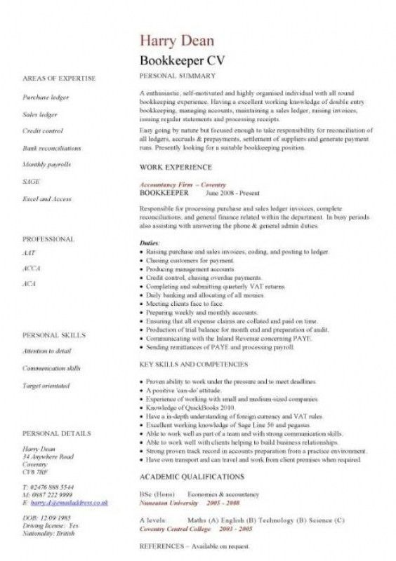 Bookkeeper Resume Sample – Resume Examples