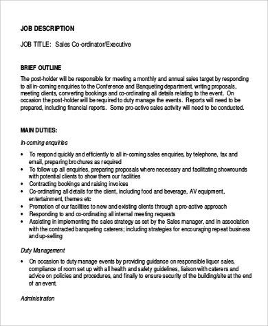 Event Coordinator Job Description. Executive Sales Coordinator Job ...