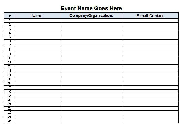 Sign In Sheet Template - vnzgames