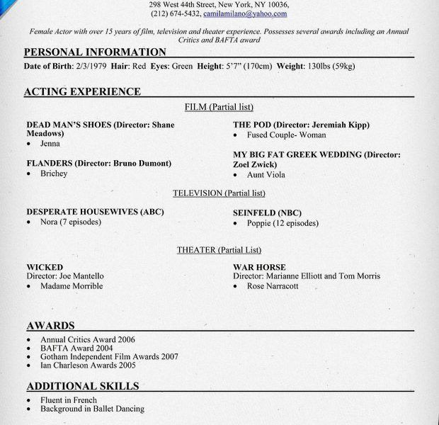 Impressive Ideas Acting Resume Examples 4 Sample Writing Tips - CV ...