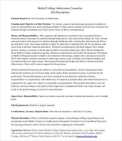 Admissions Counselor Job Description - 8+ Free Word, PDF Documents ...