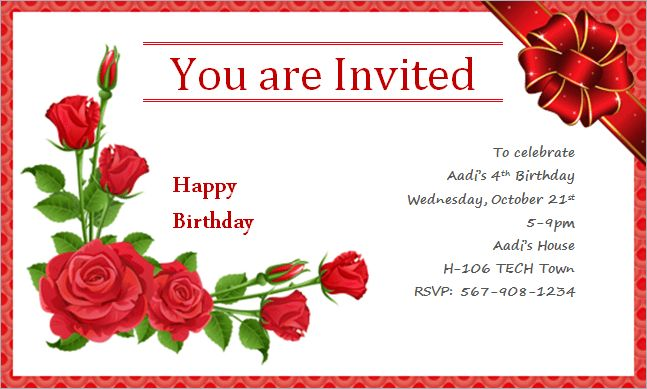 Card Invitation Design Ideas: Happy Birthday Invitation Card Red ...