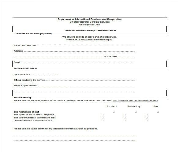 Sample Service Feedback Form - 11+ Download Free Documents in PDF ...