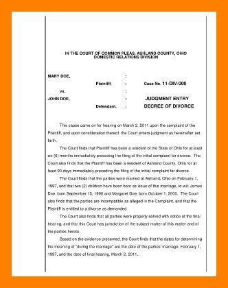 9+ sample divorce papers | resumed job