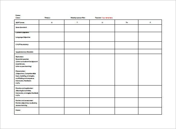 Teacher Lesson Plan Template - Free Word Documents Download | Free ...