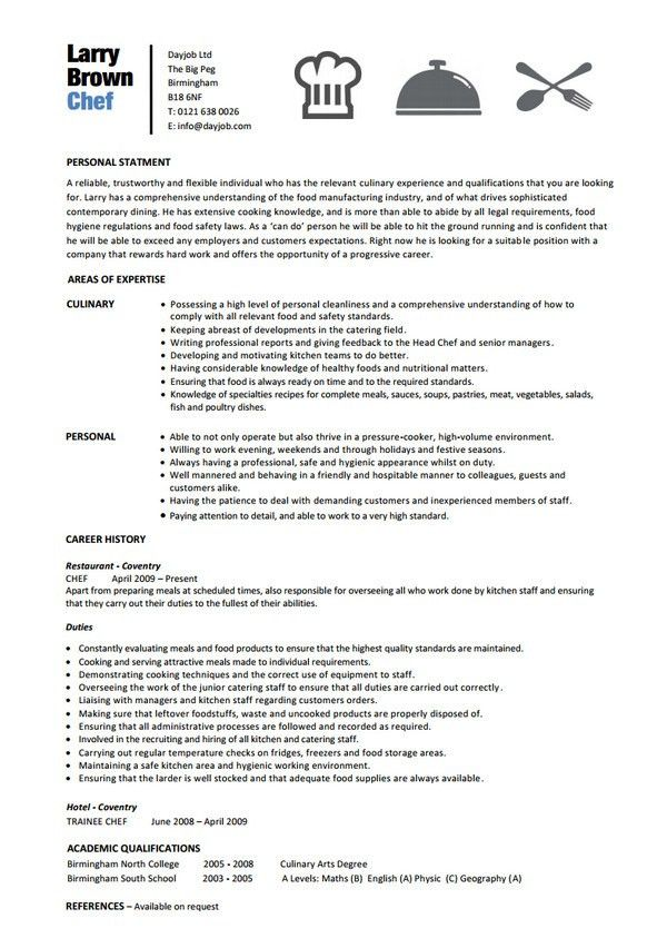 Most Interesting Chef Resume Template 16 15 Chef Resume Templates ...