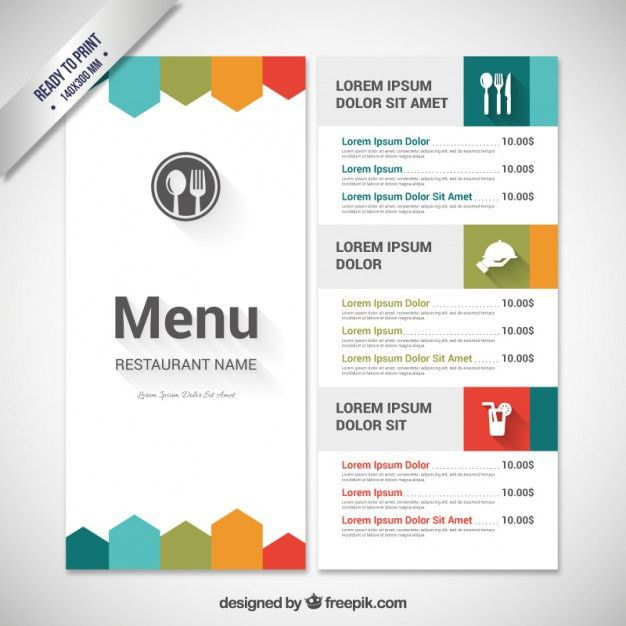 Colorful menu template Vector | Free Download