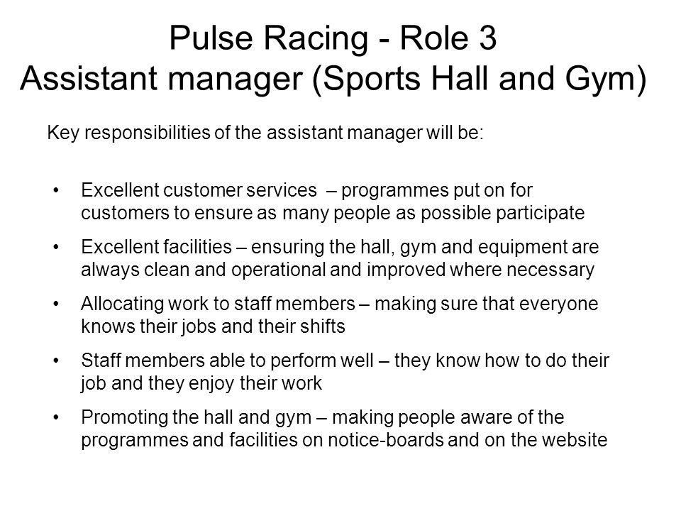 Pulse Racing You are the manager of a community leisure centre ...