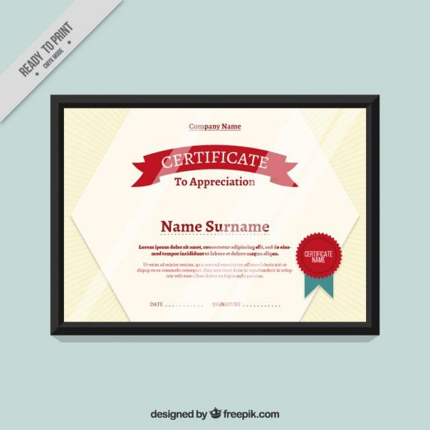 Certificate Template with red seal Vector | Free Download