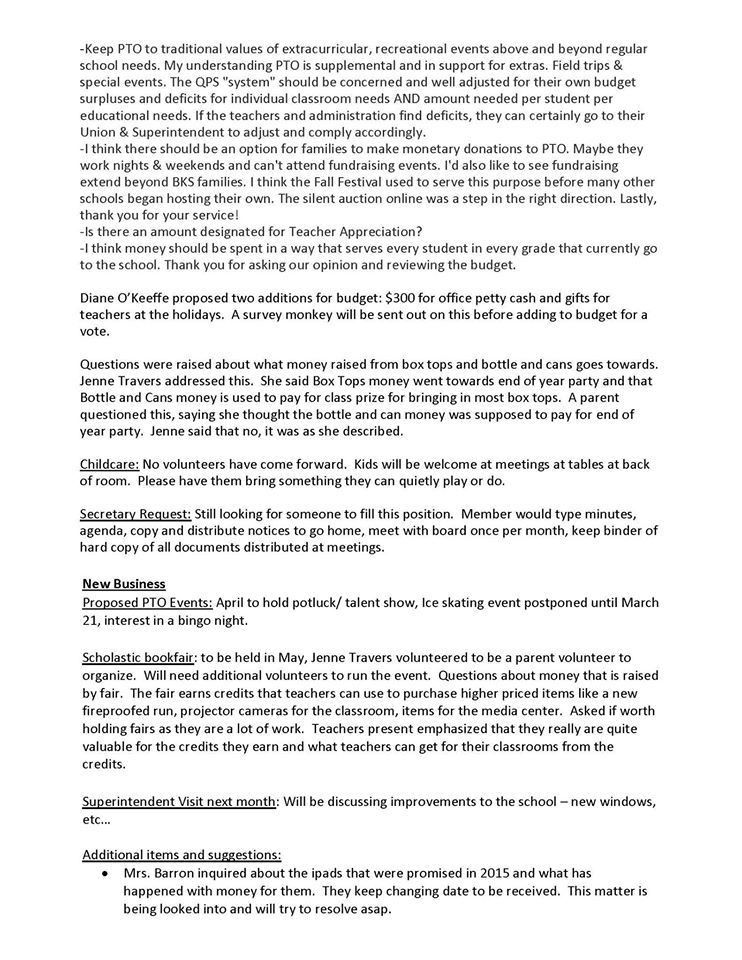 Meeting Minutes - Beechwood Knoll PTO