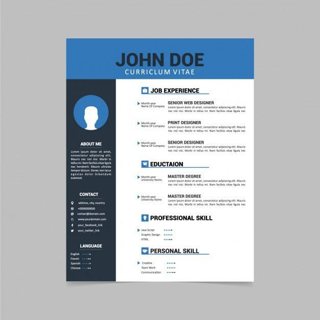 Curriculum vitae template design Vector | Free Download