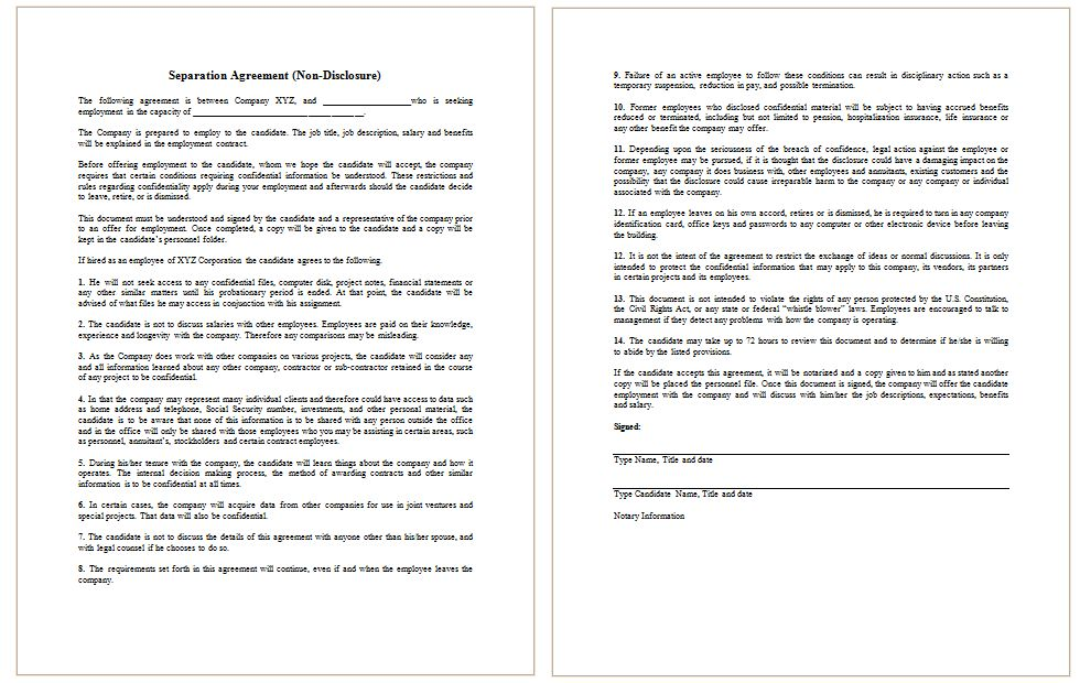 Non-Disclosure Agreement Template (For Employee) - Dotxes
