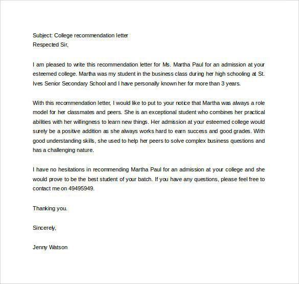 Business Recommendation Letter. Sample Graduate College ...