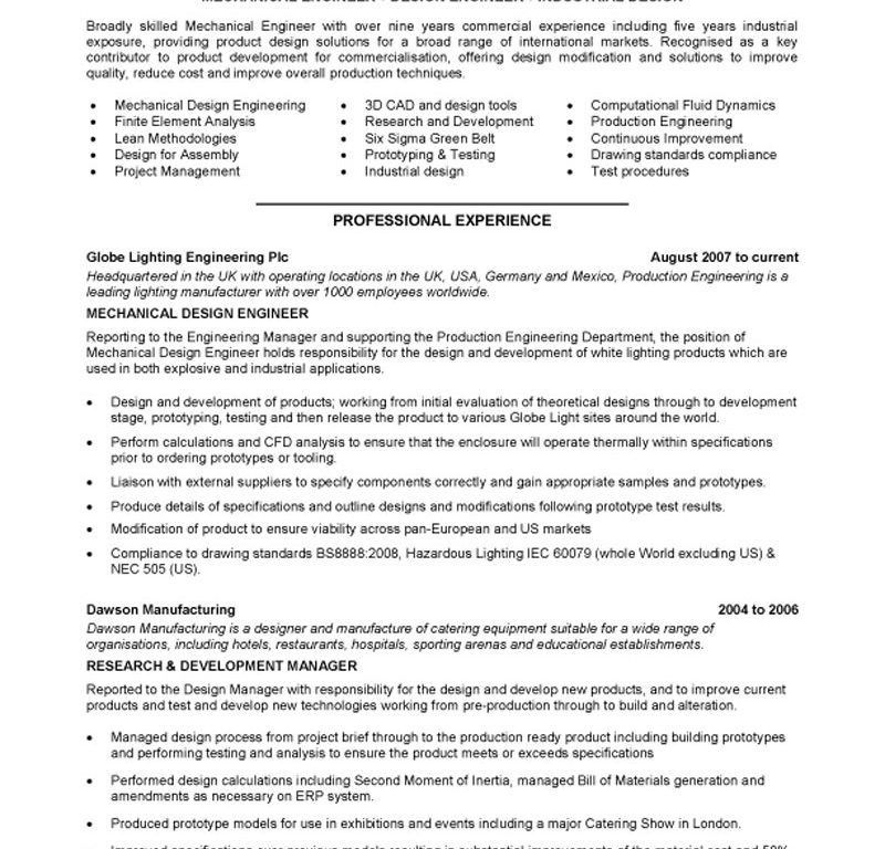 Mechanical Engineering Resume Template. Mechanical Engineer Resume ...