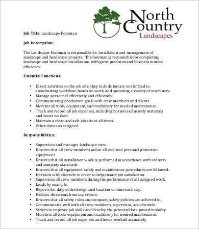 Landscaping Job Description Templates - 9+ Free Word, PDF ...