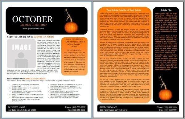 Microsoft Newsletter Template. Half-Fold Newsletter Templates | 2 ...