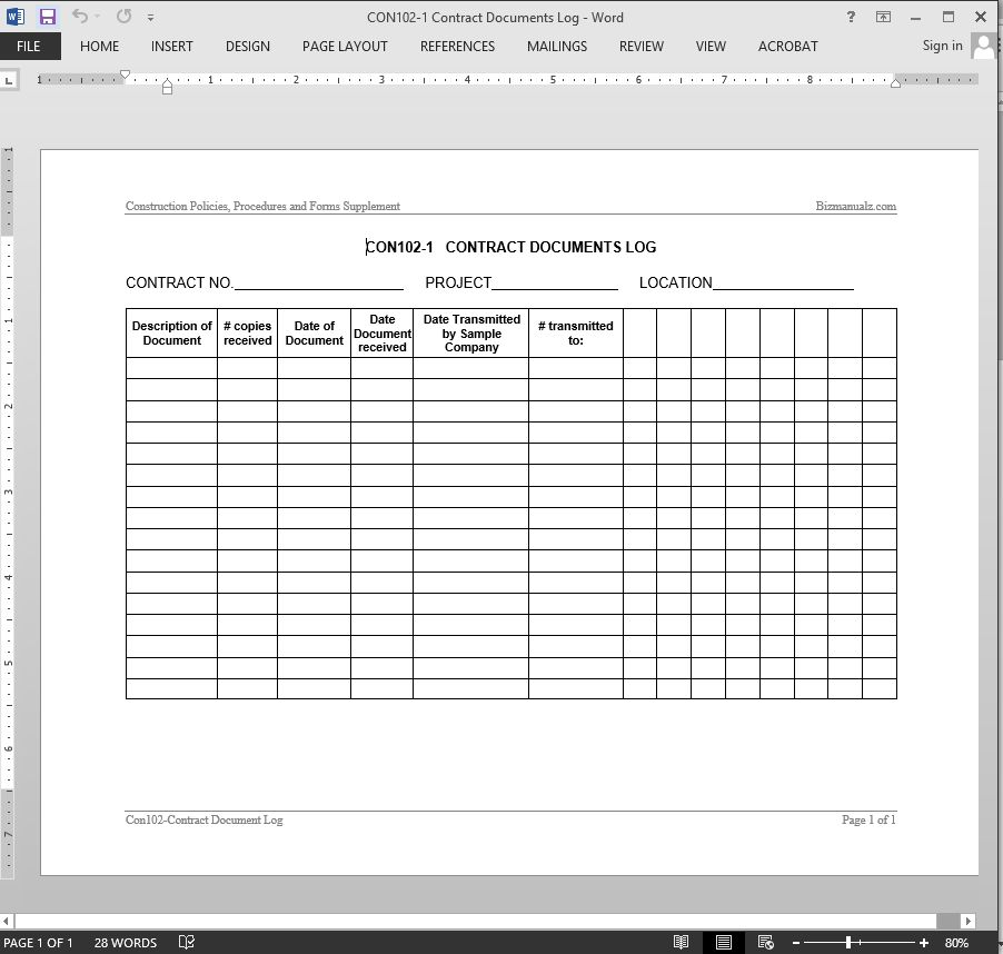Contract Documents Log Template