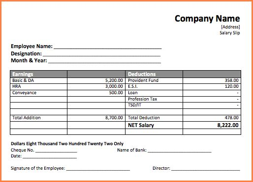 Beautiful Salary Slip In Word Format Pictures - Best Resume ...