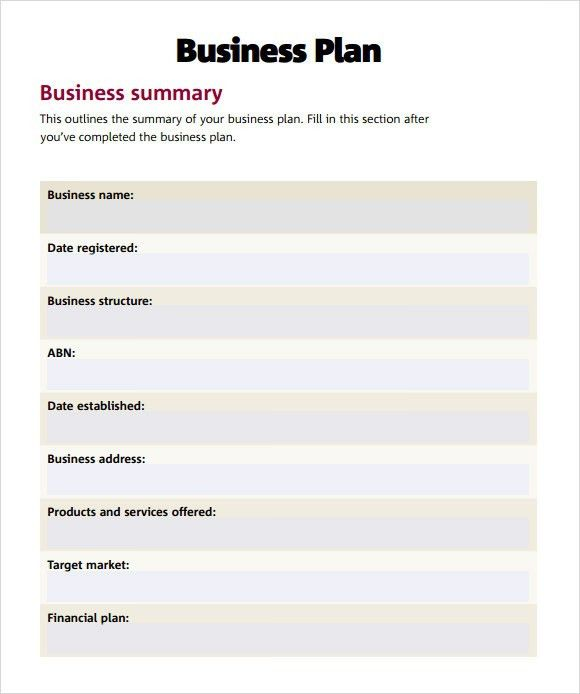 Business Plan Template Word | Business Plan Template