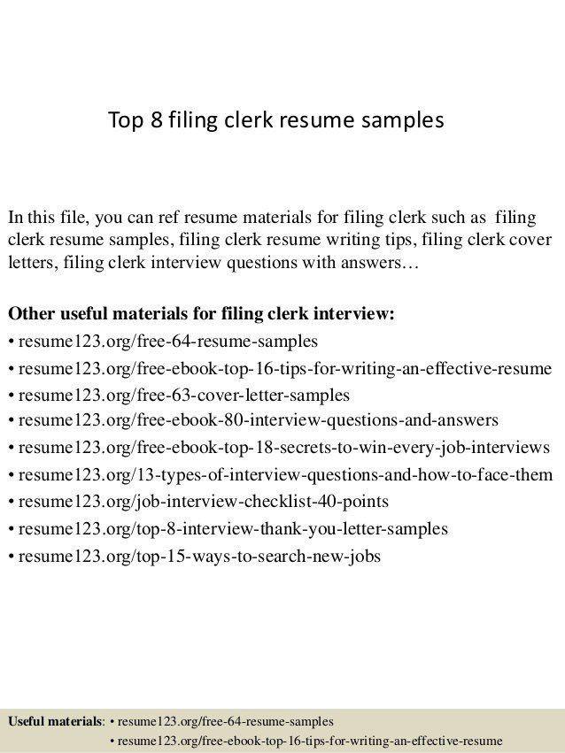 clerical resume sample