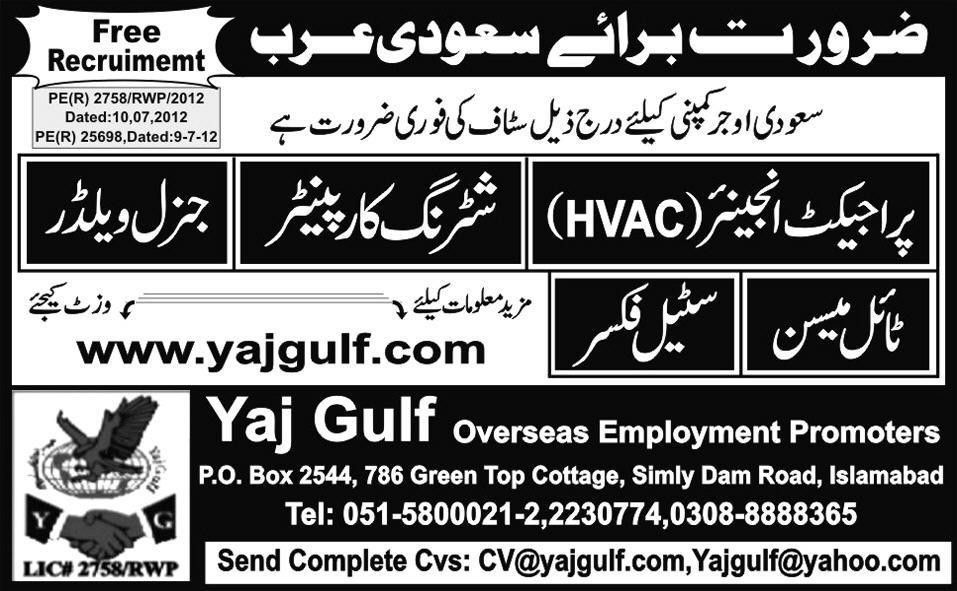 Shuttering Carpenter and HVAC Engineer Jobs in Saudi Arabia in ...