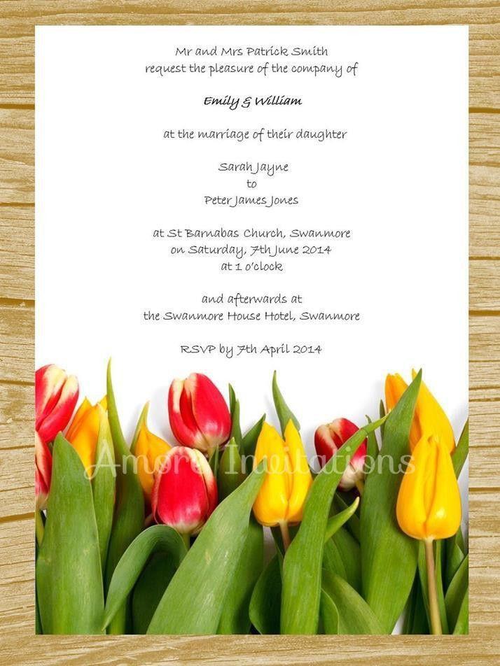 DIY Digital Printable Yellow & Red Tulips Wedding / Birthday ...
