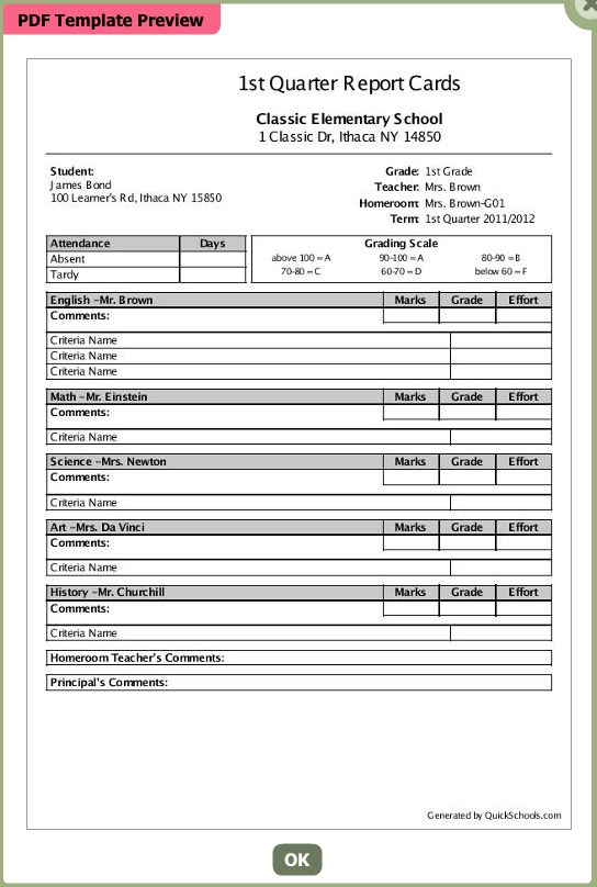 Select a template for your school's report card soon | School ...
