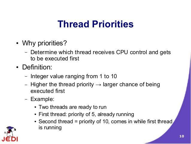What are thread priorities in java programming - Coding Security