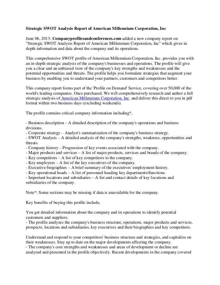 Strategic swot analysis report of american millennium corporation, inc