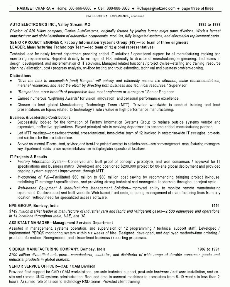 Information Technology Senior Project Manager resume sample ...