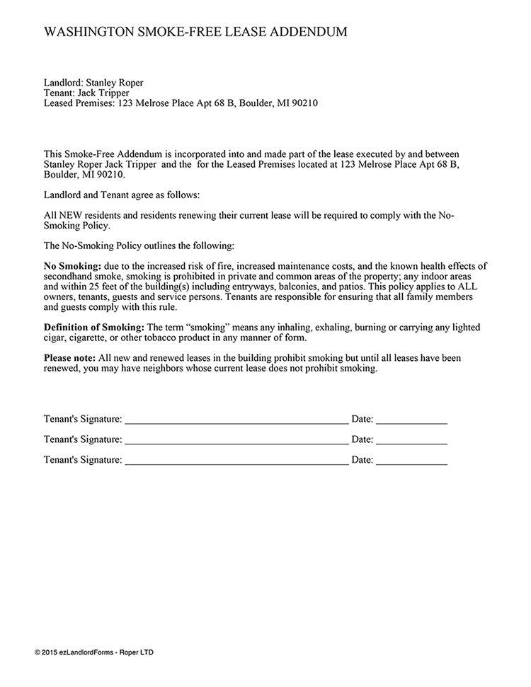 Washington Smoke-Free Lease Addendum | EZ Landlord Forms