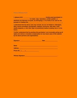 5+ general release form template | packaging clerks