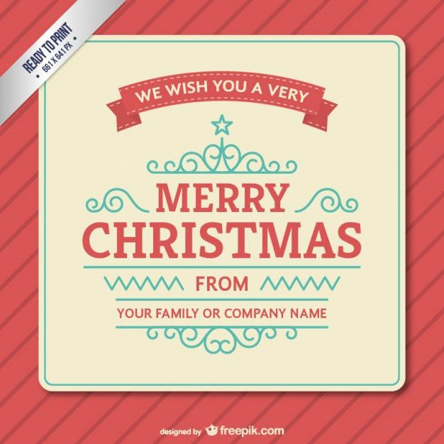 Vintage Christmas card template Vector | Free Download