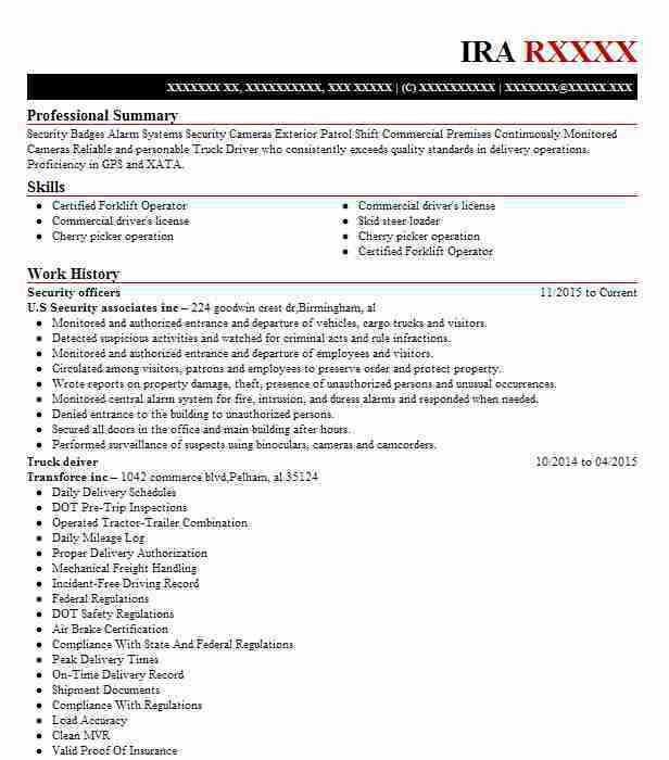 Best Security Officers Resume Example | LiveCareer
