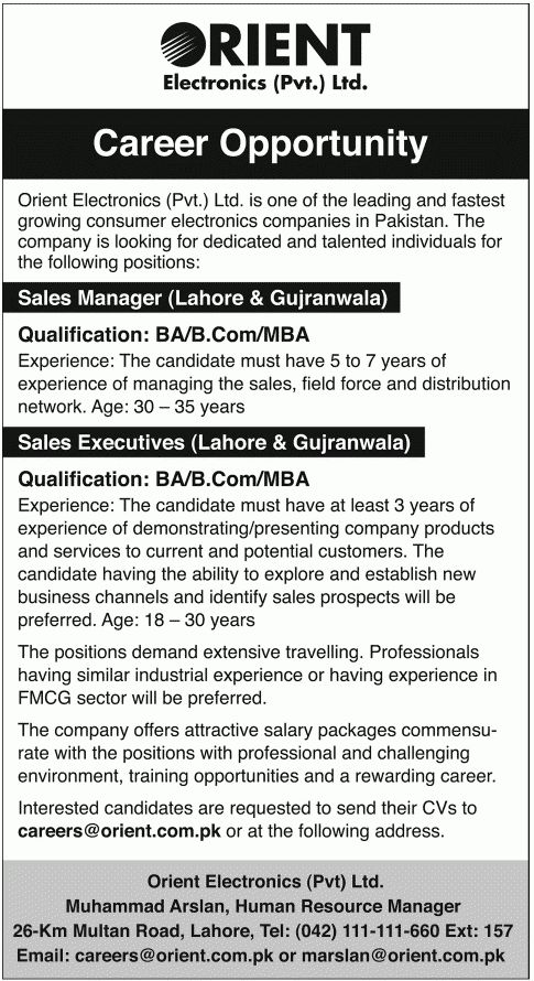 Sales Manager, Sales Executive Job in Orient Electronics 8 Feb 2015